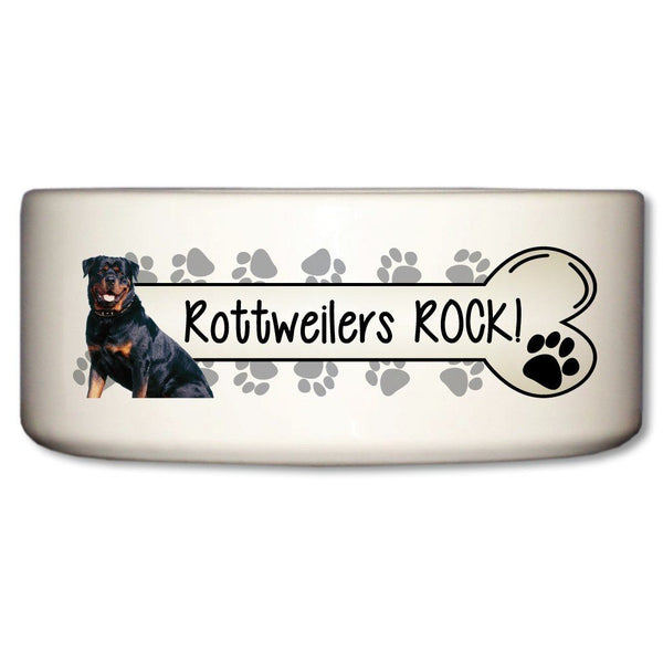 Rotweillers Rock Ceramic Dog Bowl