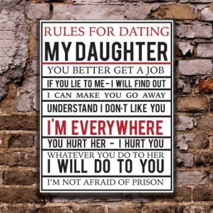 "Rules For Dating My Daughter 18""x24"" Aluminum Sign"