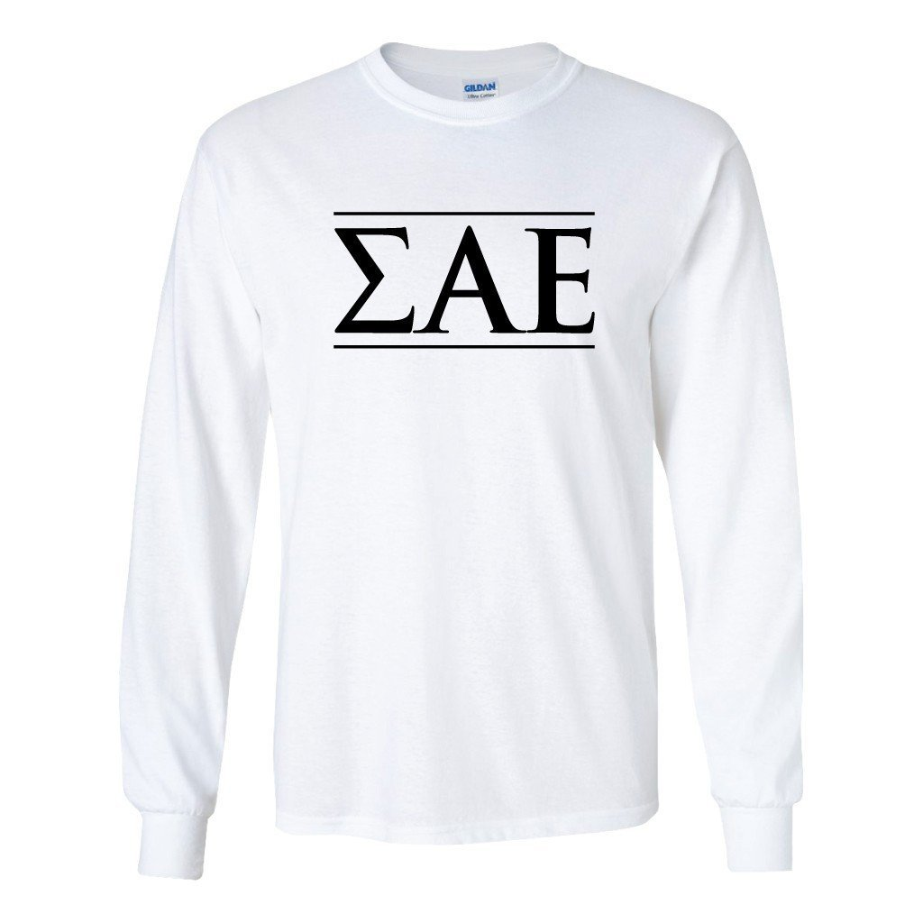 Sigma Alpha Epsilon Long Sleeve T-shirt Greek Letter - FREE SHIPPING