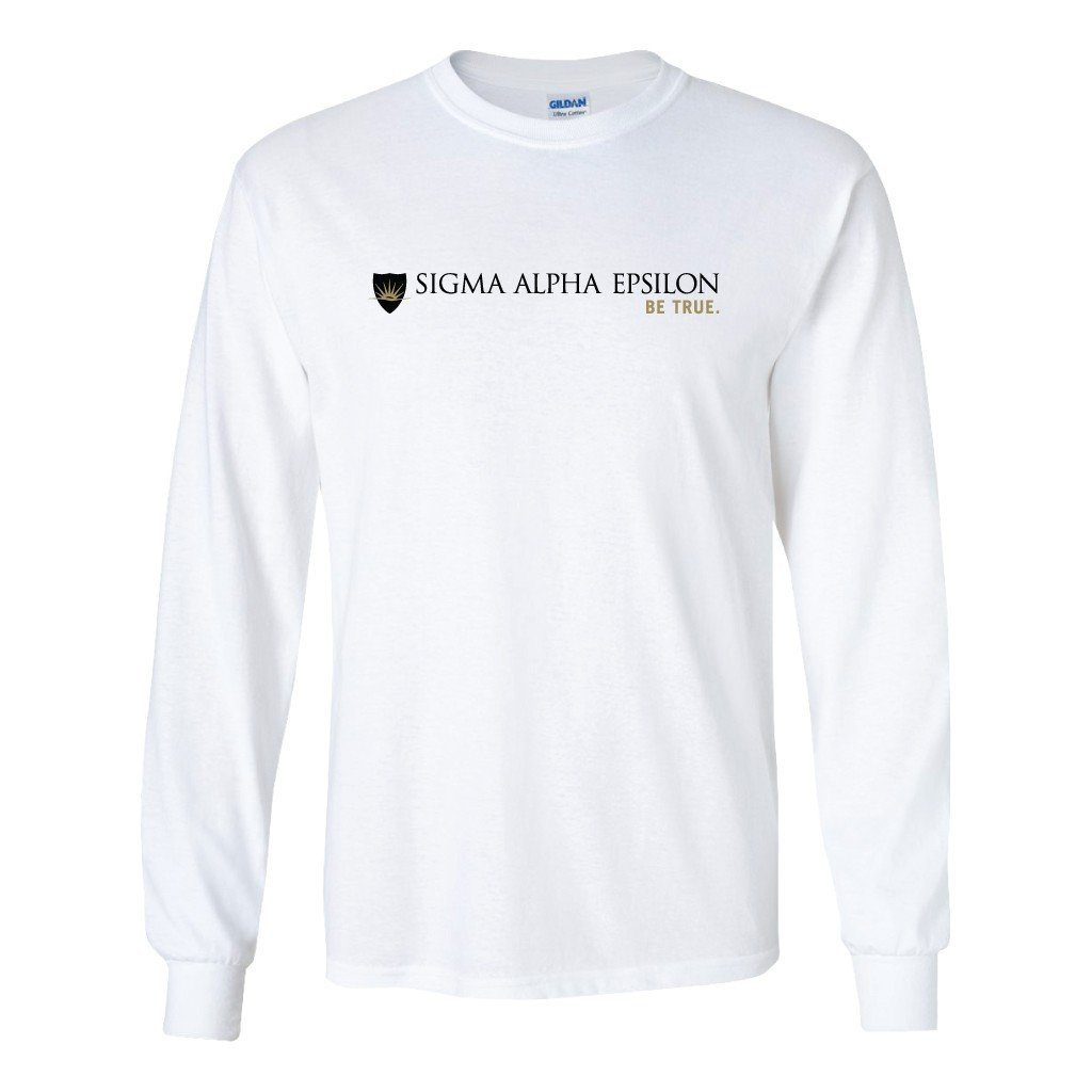 Sigma Alpha Epsilon Long Sleeve T-shirt Full Logo Design - White & Sport Gray