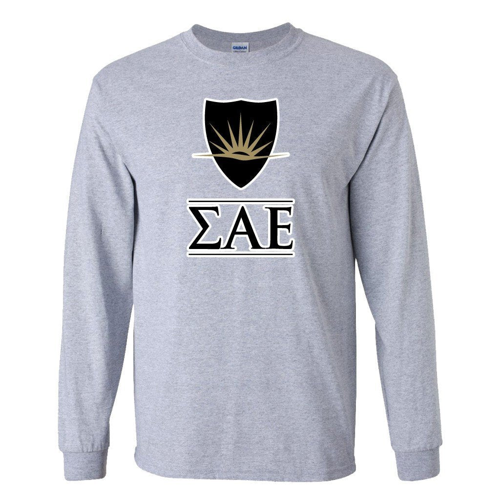 Sigma Alpha Epsilon Long Sleeve T-shirt Shield and Greek Letters - FREE SHIPPING