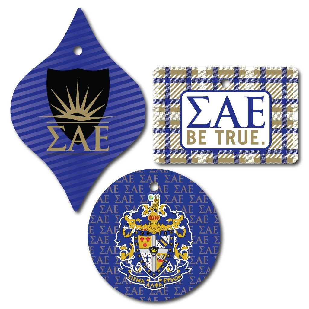 Sigma Alpha Epsilon Ornament - Set of 3 Shapes - FREE SHIPPING