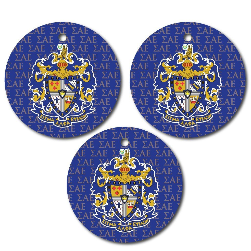 Sigma Alpha Epsilon Ornament - Set of 3 Circle Shapes - FREE SHIPPING