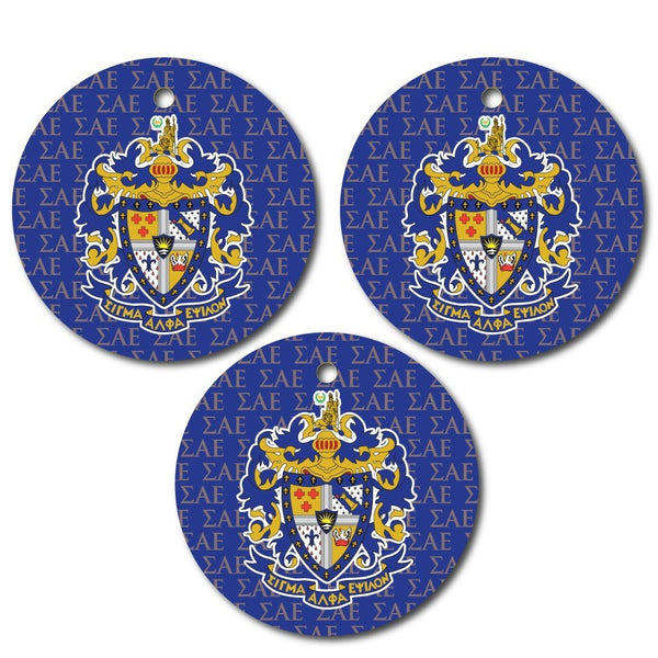 Sigma Alpha Epsilon Ornament - Set of 3 Circle Shapes