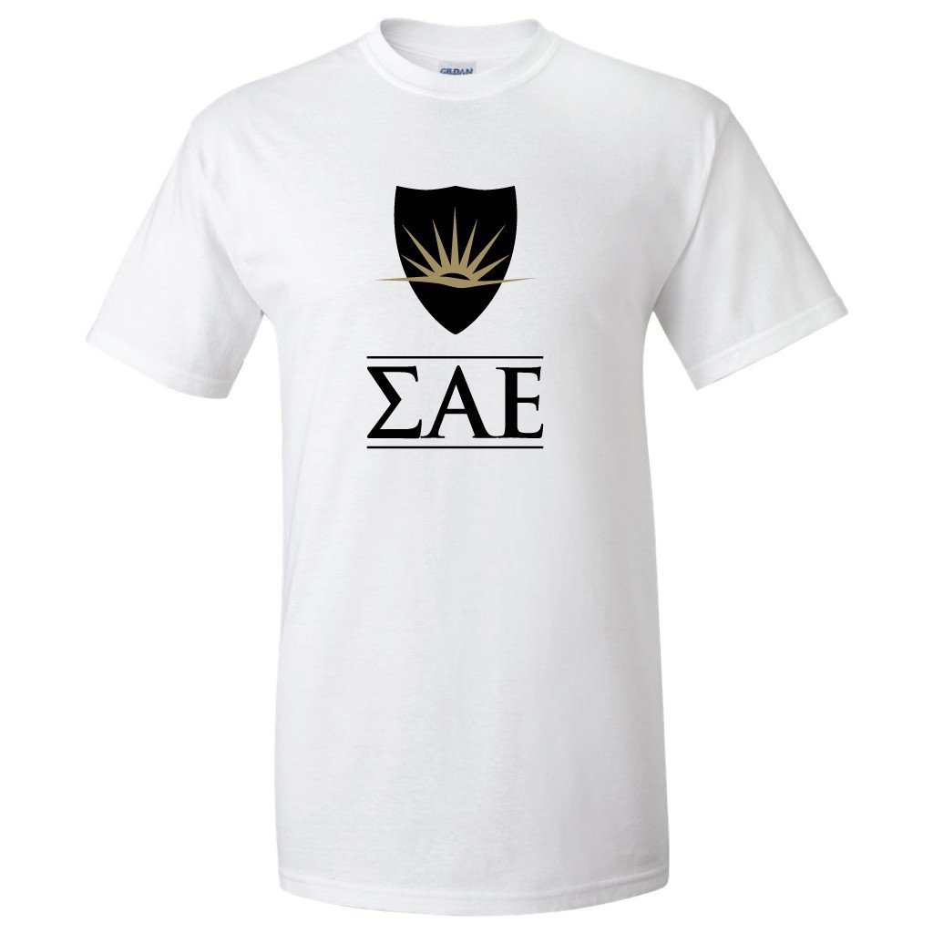 "Sigma Alpha Epsilon "" Greek Letters and Shield T-Shirt - FREE SHIPPING"