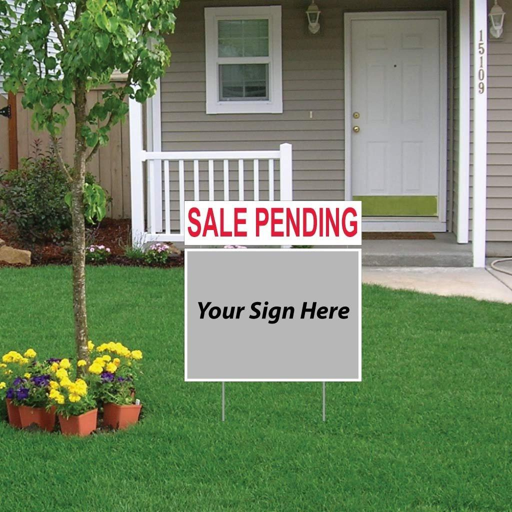 "A yard sign topper that says ""Sale Pending"""