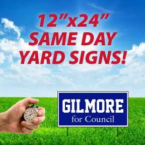 A Custom printed yard sign that advertises same day delivery
