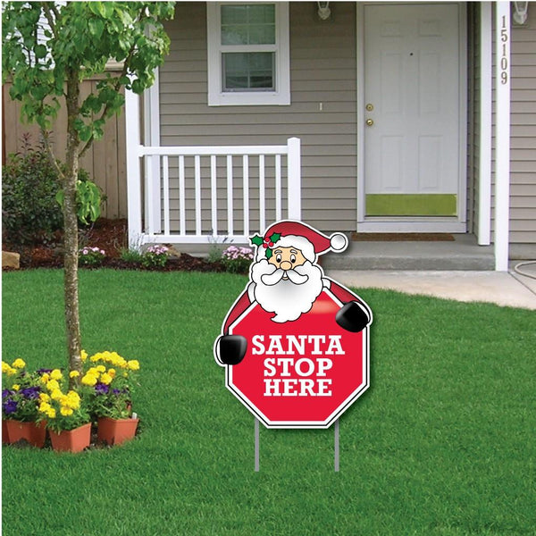 "Santa holding a sign that says, ""Santa Stop Here"" Christmas Yard Decoration"