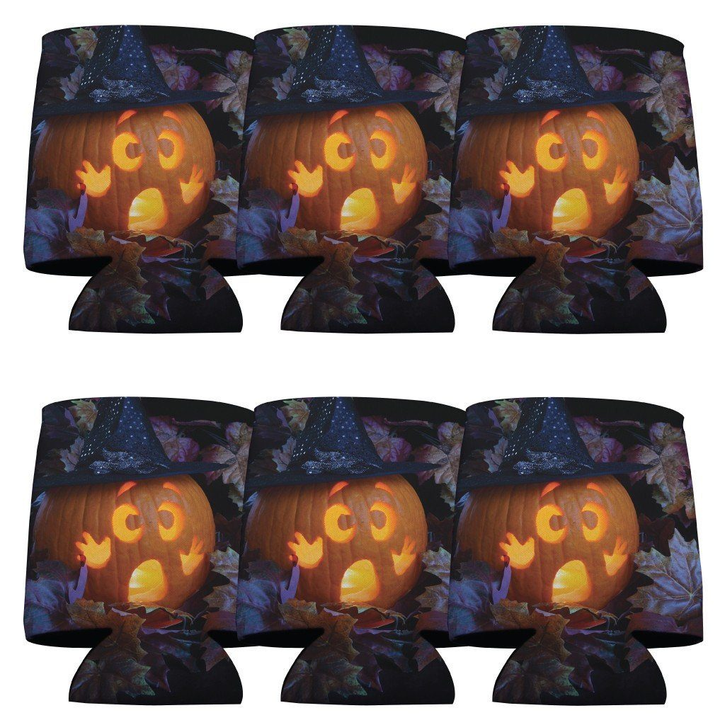 Halloween Party 'Scared Pumpkin' Can Cooler Set 6