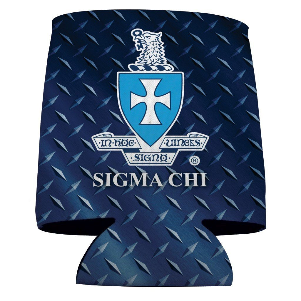 Sigma Chi Can Cooler Set of 12 - Diamond Plate FREE SHIPPING