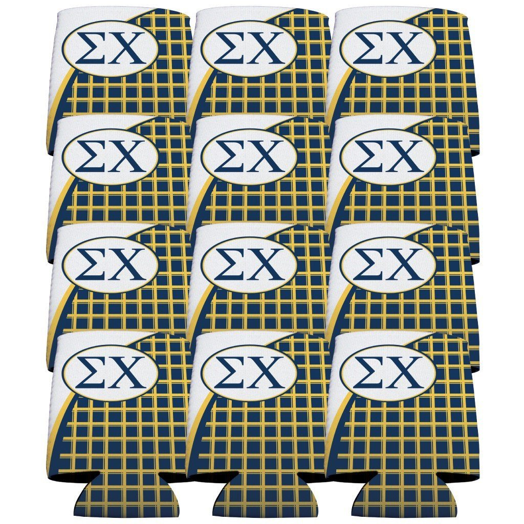 Sigma Chi Can Cooler Set of 12 - Plaid FREE SHIPPING