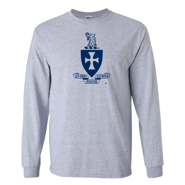 "Sigma Chi Long Sleeve T-Shirt Coat of Arms Design "" White & Sport Gray"