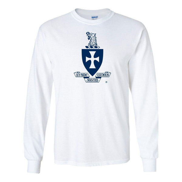 Sigma Chi Long Sleeve T-Shirt Coat of Arms Design - White & Sport Gray