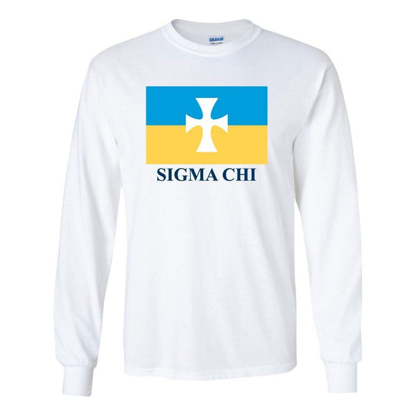 "Sigma Chi Long Sleeve T-shirt Flag Logo Design "" White & Sport Gray"
