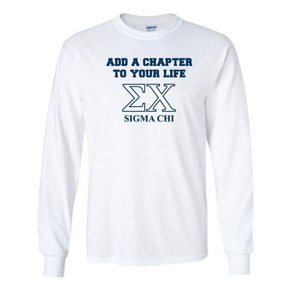 "Sigma Chi Long Sleeve T-shirt ""Add a Chapter"" Design "" White & Sport"