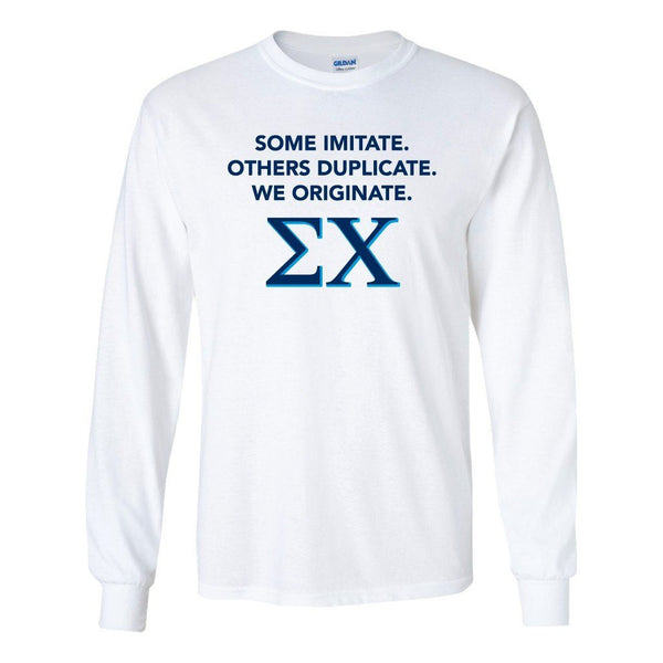 "Sigma Chi Long Sleeve T-shirt ""Imitate, Duplicate, Originate"" Design"
