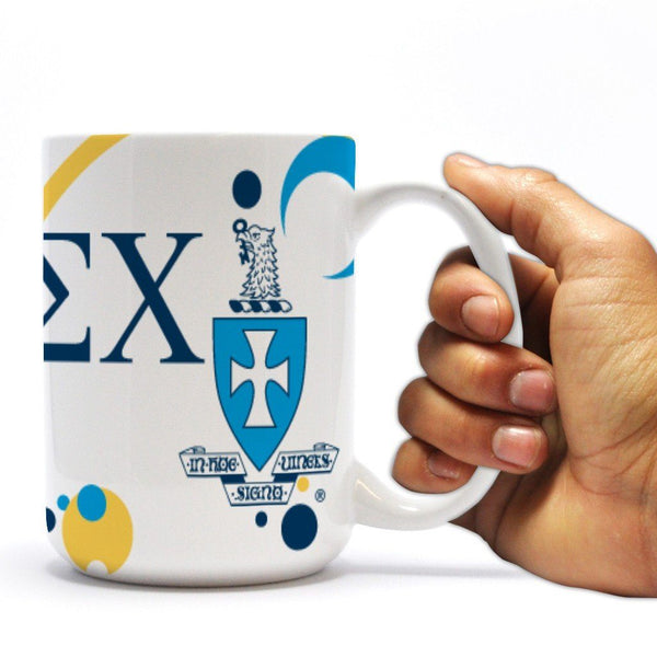 "Sigma Chi 15oz Coffee Mug "" Greek Letter and Crest Bubble Design"