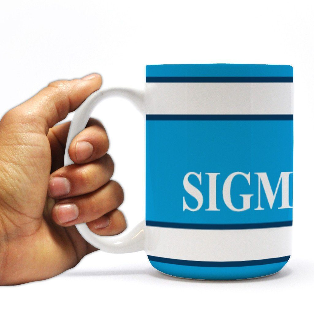 "Sigma Chi 15oz Coffee Mug "" Yellow Crest with Three Blue Stripes"