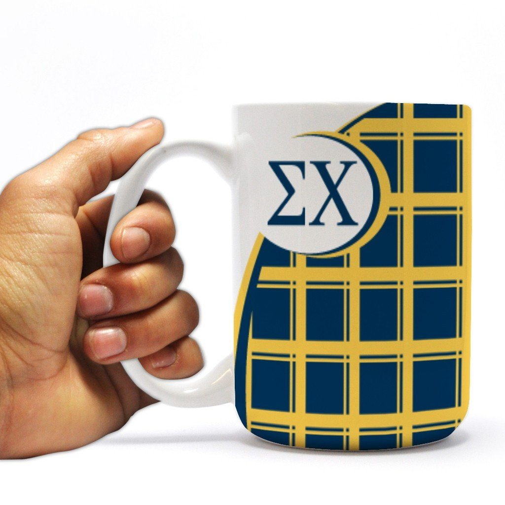 "Sigma Chi 15oz Coffee Mug "" Yellow and Navy Blue Plaid"