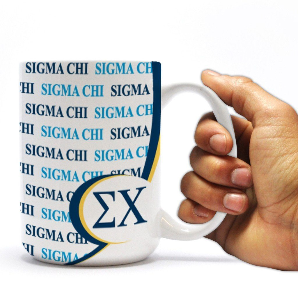 "Sigma Chi 15oz Coffee Mug "" Greek Letters and Logo Pattern"