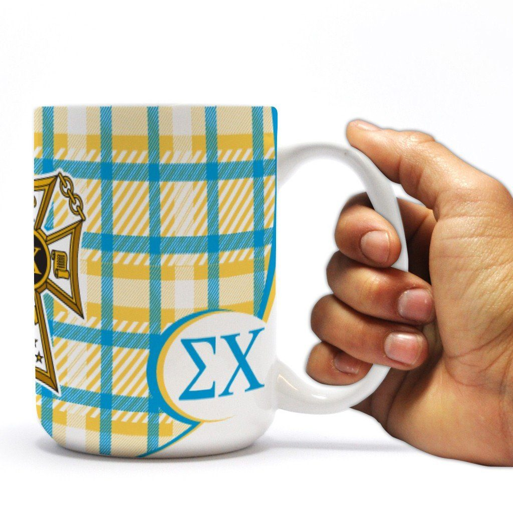 "Sigma Chi 15oz Coffee Mug "" Badge with Plaid Background Design"