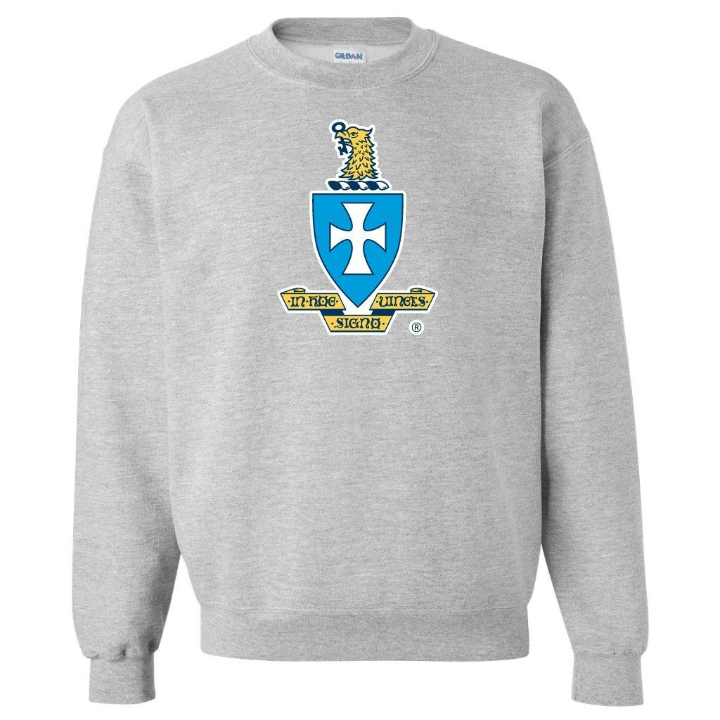Sigma Chi Sport Gray Crewneck Sweatshirt Coat of Arms FREE SHIPPING