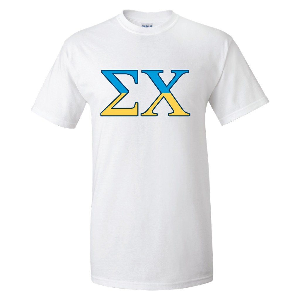 "Sigma Chi Standard T-Shirt - Greek Letters "" White & Navy Blue"