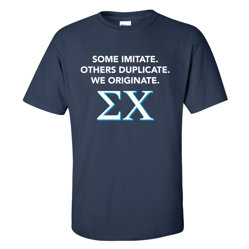 Sigma Chi Navy Blue Standard T-Shirt - Some Imitate, Others Duplicate - FREE SHIPPING