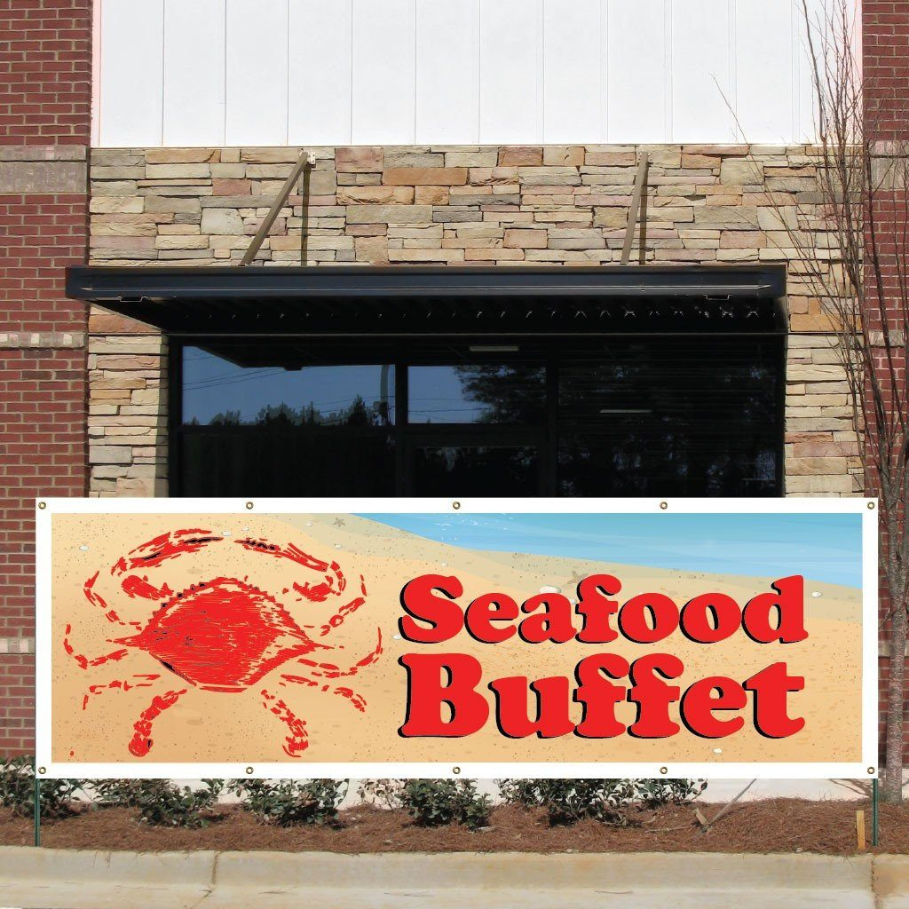Seafood Buffet Vinyl Banner with Grommets