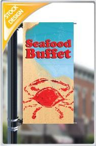 "18""x36"" Seafood Buffet 2 Pole Banner FREE SHIPPING"