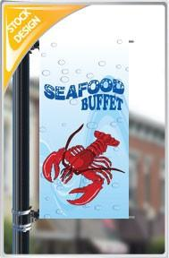 "18""x36"" Seafood Buffet Pole Banner FREE SHIPPING"