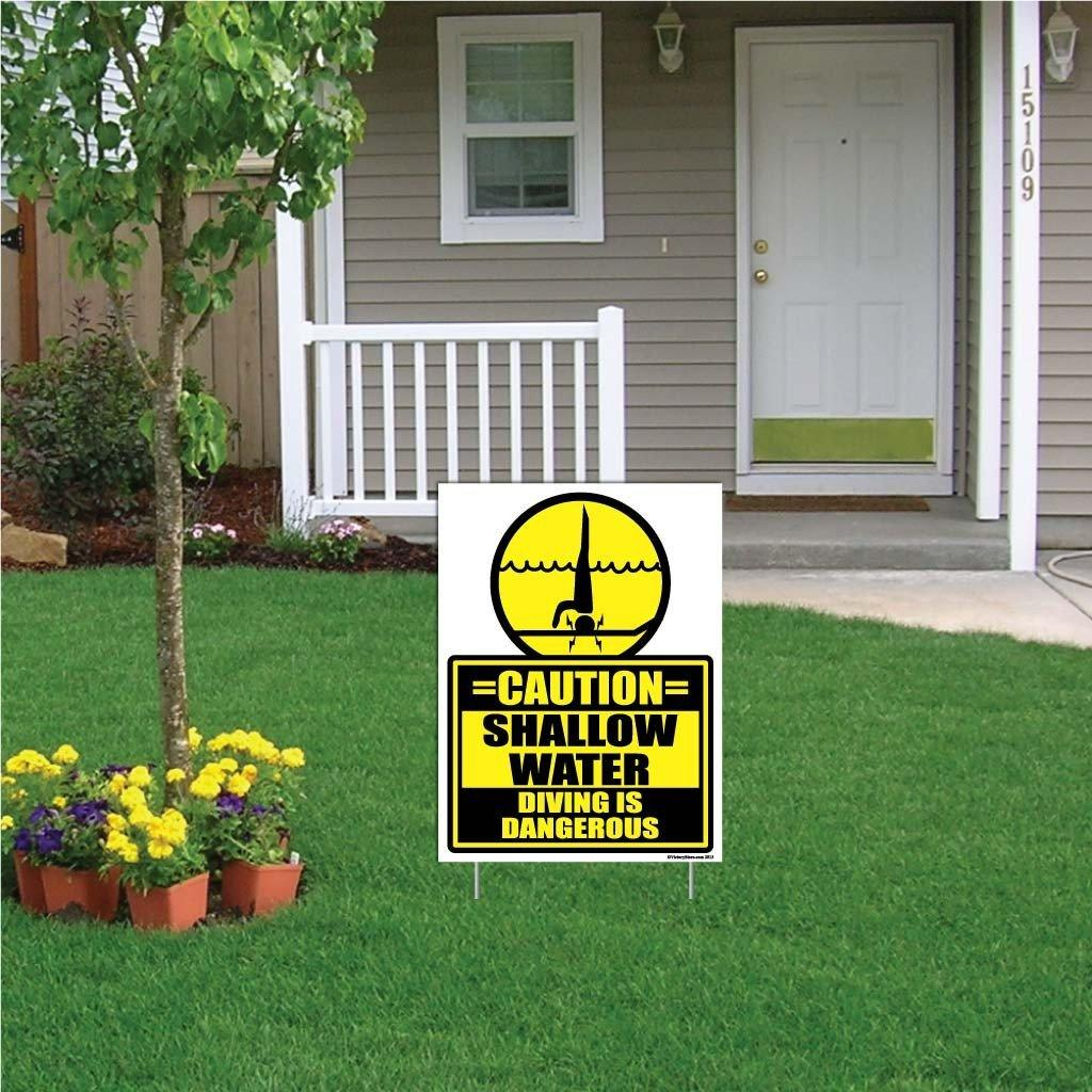 "A yard sign that says ""Caution, Shallow Water"""