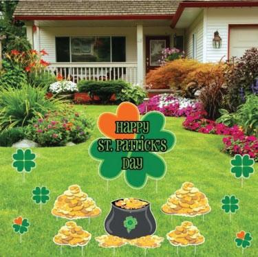 St. Patrick's Day - Yard Decoration - Shamrocks and Gold - FREE SHIPPING