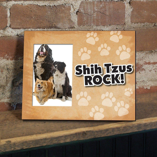 "A picture frame that says ""Shih Tzus Rock!"""