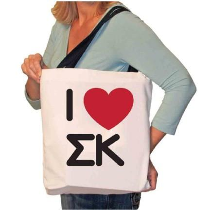 6e54ed9088 I Love Sigma Kappa Canvas Tote Bag