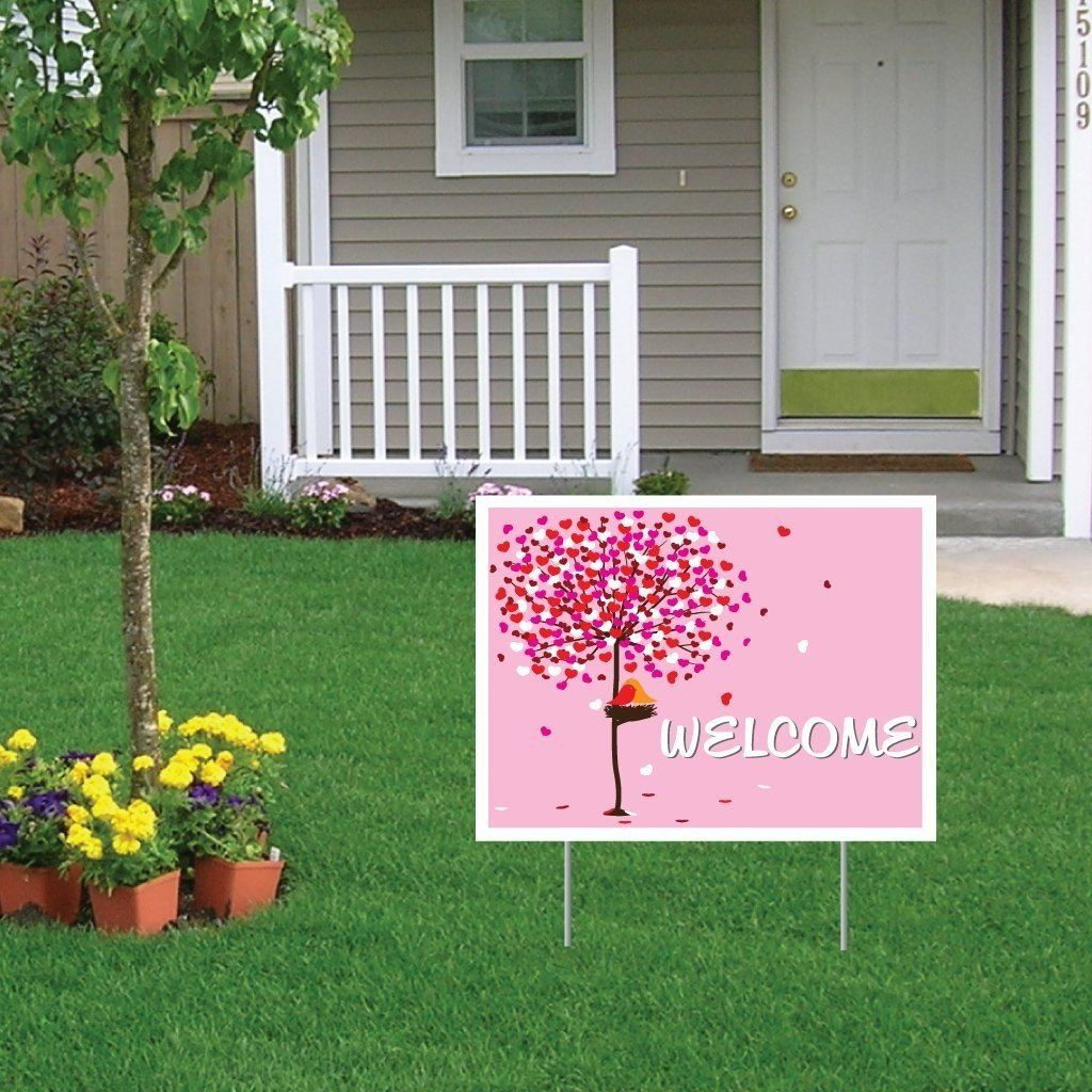 "Welcome Wedding Yard Sign with stakes - 18""x24"" - FREE SHIPPING"