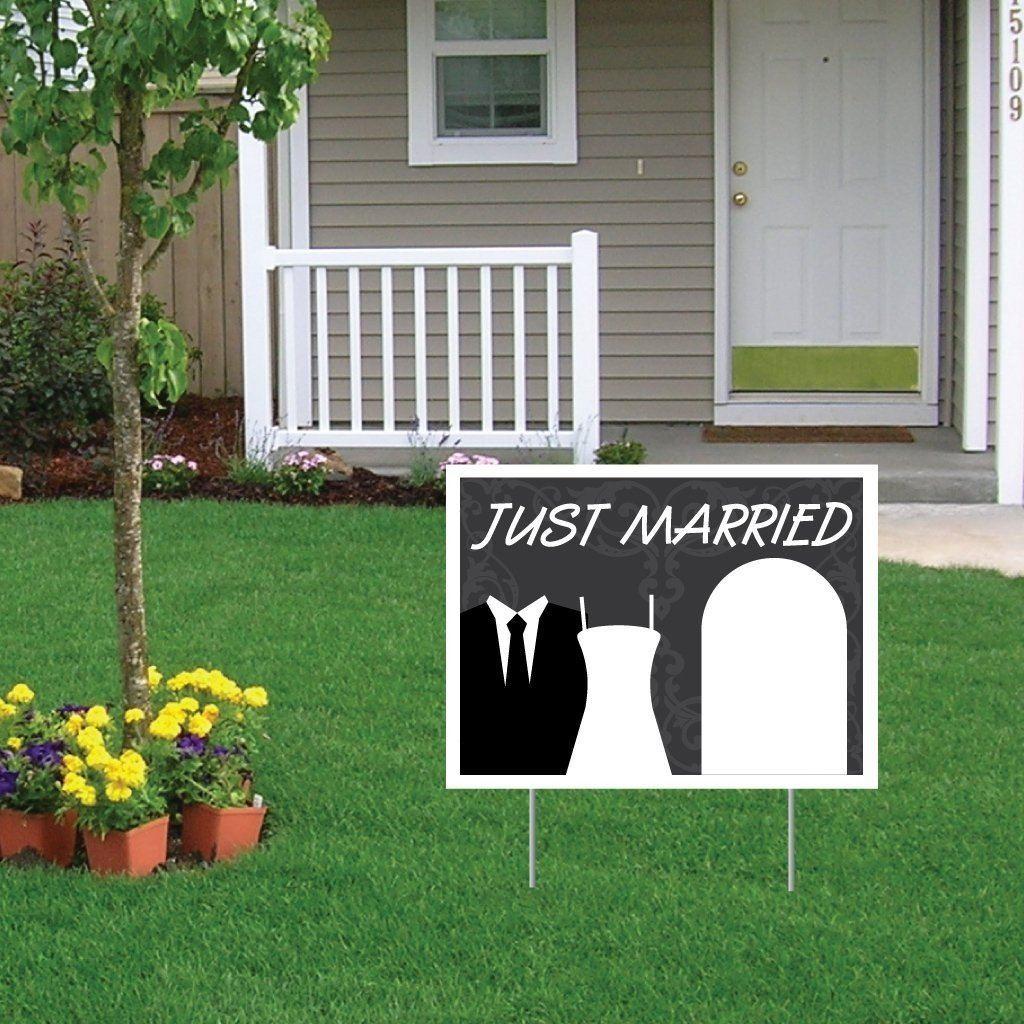 "Just Married Wedding Yard Sign w/ 2 EZ stakes - 18""x24"" - Corrugated Plastic - FREE SHIPPING"