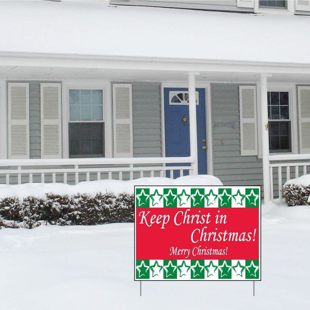Keep Christ in Christmas Yard Sign (Green and Red) - Set of 3 Signs - FREE SHIPPING