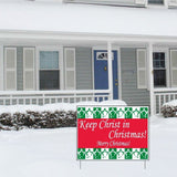 Keep Christ in Christmas Yard Sign (Green and Red) - Set of 3 Signs w/