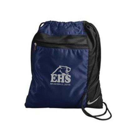 A dark blue and black sports bag
