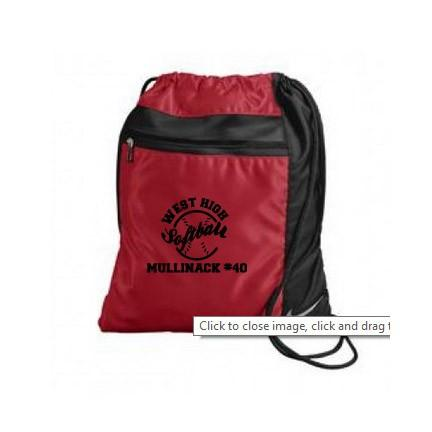 A red and black sport bag