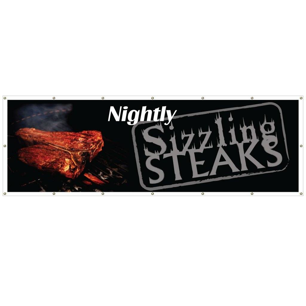 Sizzling Steaks Nightly Vinyl Banner with Grommets