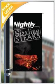 "18""x36"" Sizzling Steaks Nightly Pole Banner FREE SHIPPING"