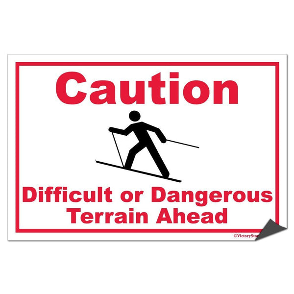 Skiing Caution Difficult or Dangerous Terrain Ahead Sign or Sticker -