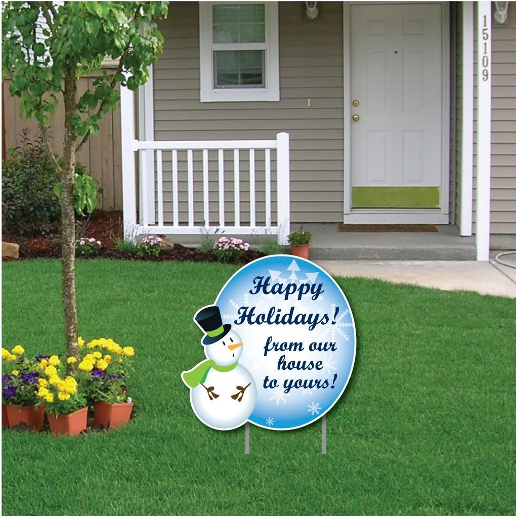 Snowman Happy Holidays! Message Christmas Lawn Sign Display - FREE SHIPPING