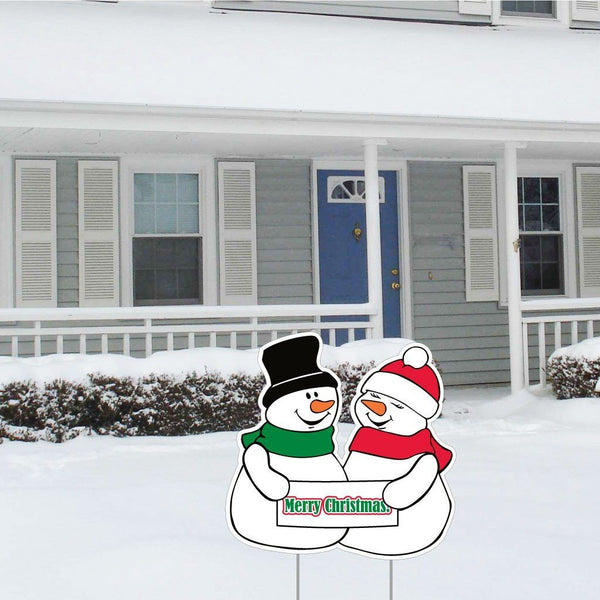 "Merry Christmas Snowman Lawn Display - 21"" x 21"" Yard Sign Decoration"