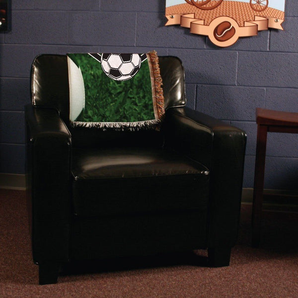 A throw blanket for a soccer ball