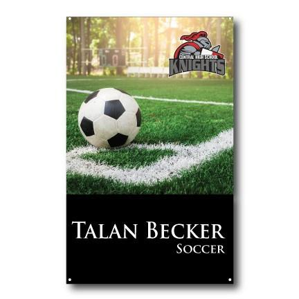 A soccer themed sports banner