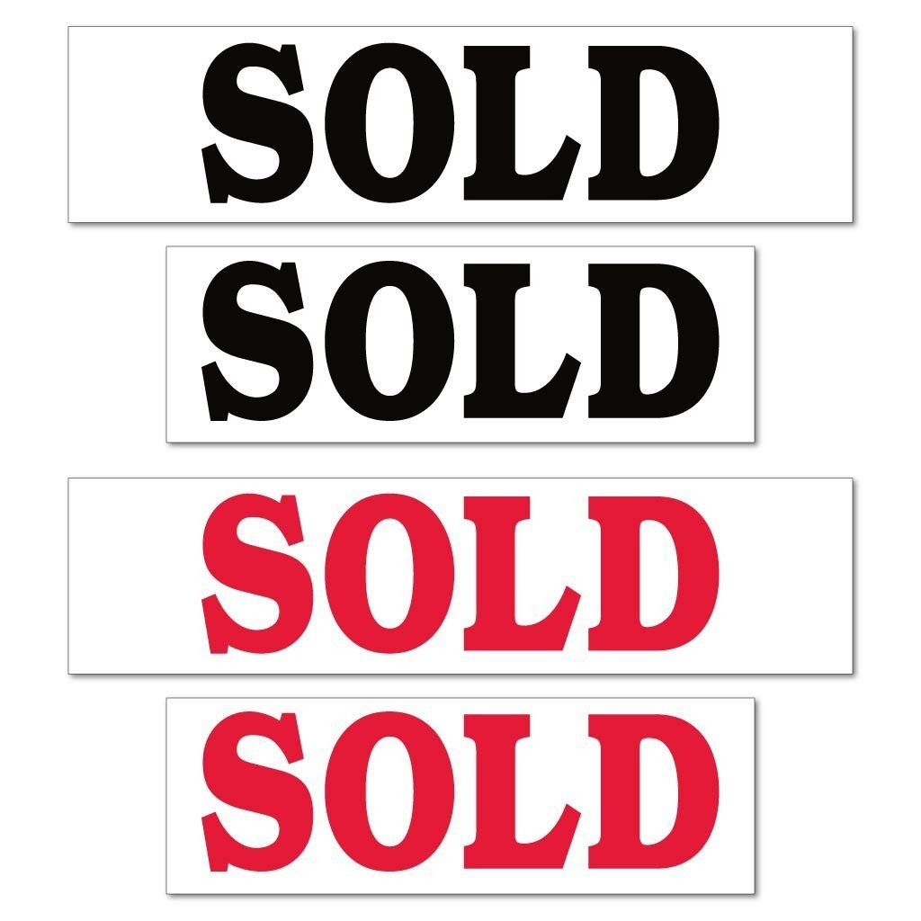 Sold Real Estate Yard Sign Rider Set - FREE SHIPPING