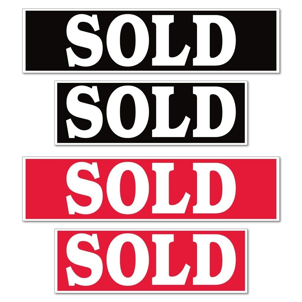 Sold Real Estate Yard Sign Rider Set - Reverse Imprint - FREE SHIPPING